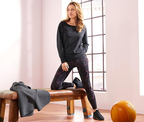 DryActive Plus Çift Taraflı Spor Tayt, Renkli Baskılı-Siyah