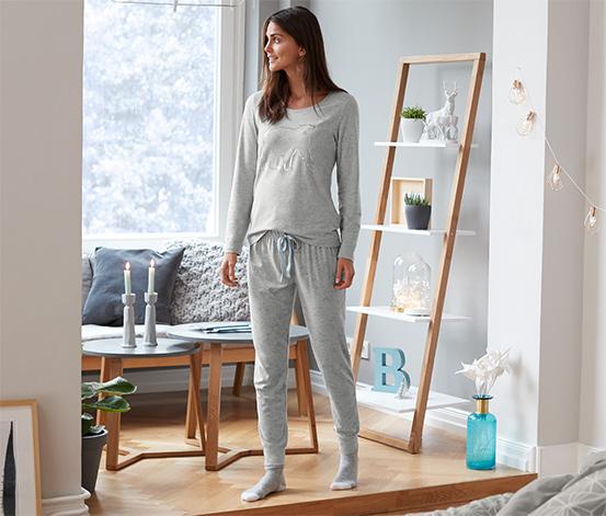 Mavi Organik Pamuklu Pijama Takımı