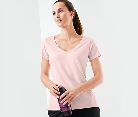 Női sportfelső, V-nyak, rózsaszín
