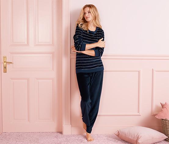 Lacivert-Pembe Kadife Pijama Takımı