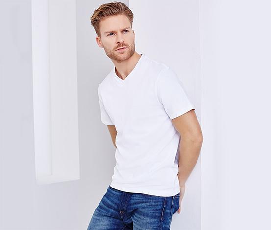 2 férfi V-nyakú póló szettben, fehér