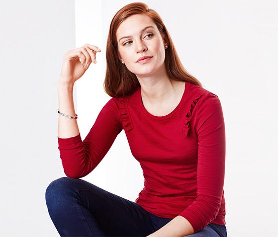 Kırmızı Organik Pamuklu Fırfır Detaylı Tişört