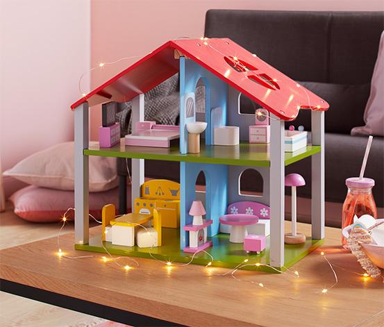 Holz-Puppenhaus mit Möbeln