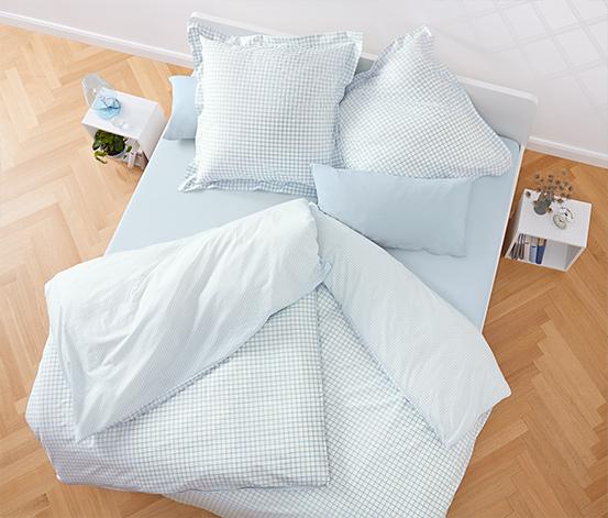 Kétoldalas perkál ágynemű, kockás, 1 személyes