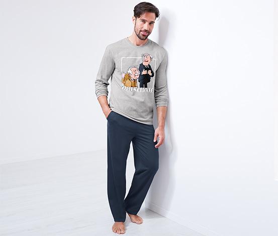 Organik Pamuklu Pijama Takımı, Waldorf & Statler, Kırçıllı Gri-Mavi