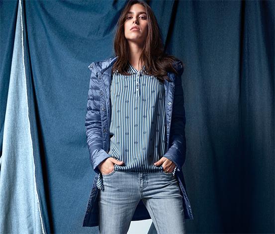 Női steppelt kabát, kék