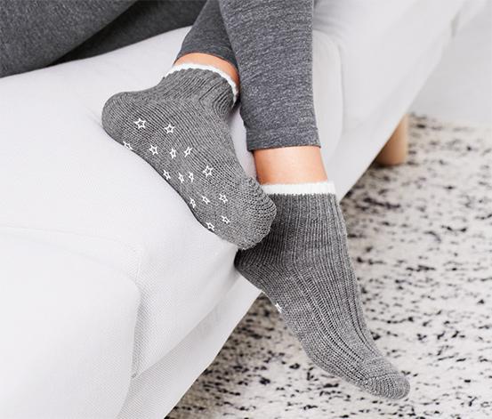2 pár női puha zokni szettben, szürke és kék