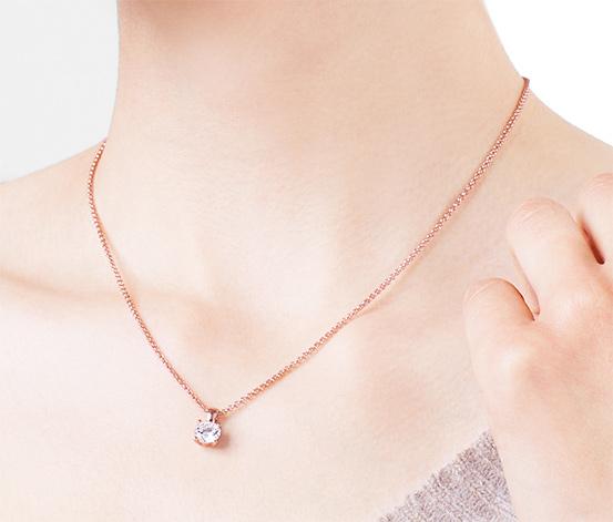 Silberkette »Solitär« mit Zirkonia*, rosévergoldet