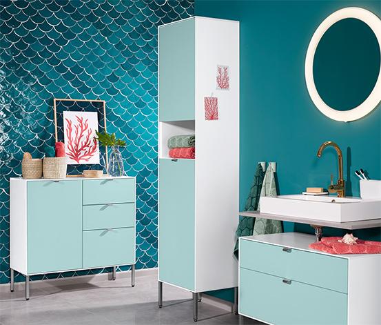 Fürdőszobai magas szekrény, fehér, zöld