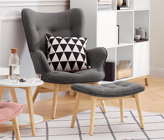 Kárpitos fotel, lábtartóval, sötétszürke