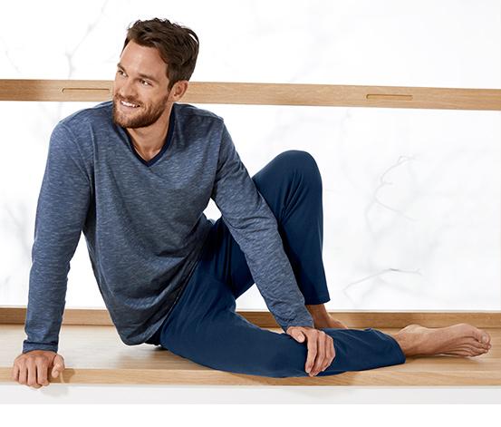 Férfi hosszú pizsama, kék