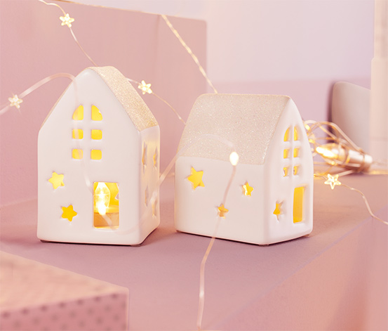 Keramické domečky s LED, 2 ks