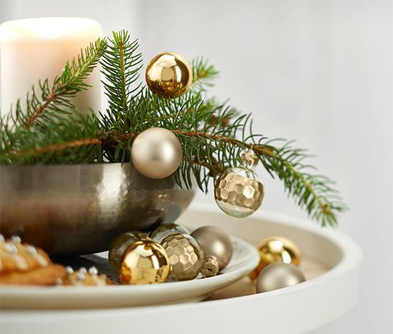 Dekoratif Mini Küre, Altın Rengi-Şeffaf, 10 Adet
