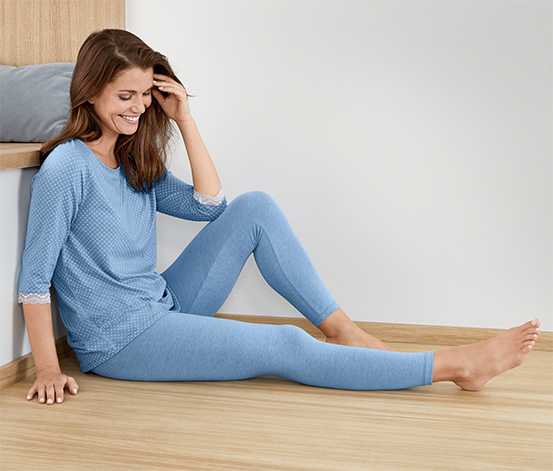 Női hosszú pizsama, világoskék