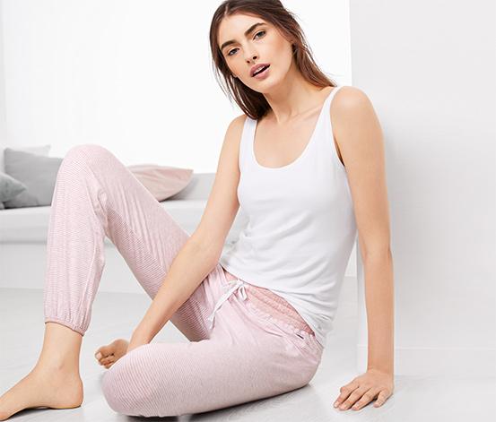 Organik Pamuklu Pijama Altı, Pembe-Beyaz Çizgili