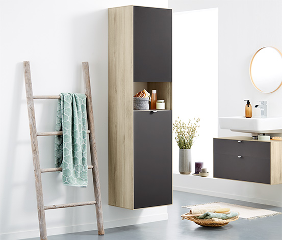 Fürdőszobai magas szekrény, fa, barna