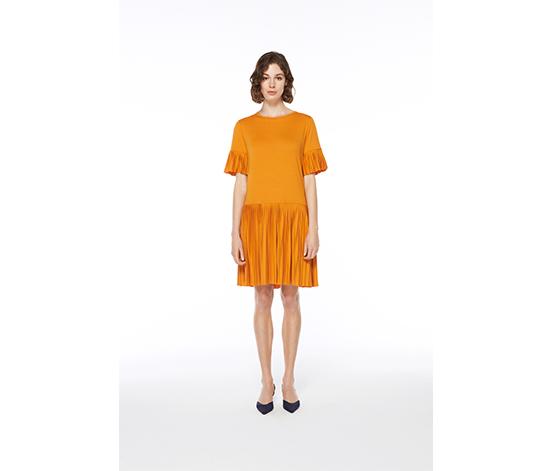Sarı Etek Ucu Pileli Midi Elbise, L