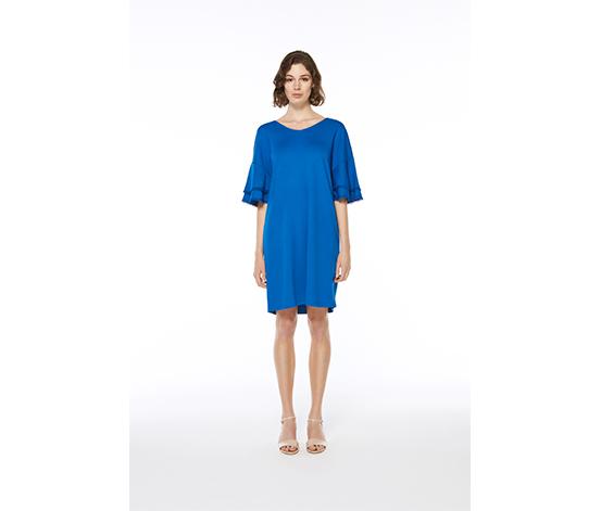 Mavi Çift Kat Volan Kollu Midi Elbise, L