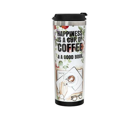 Coffee Temalı Kağıtlı Büyük Boy Termos