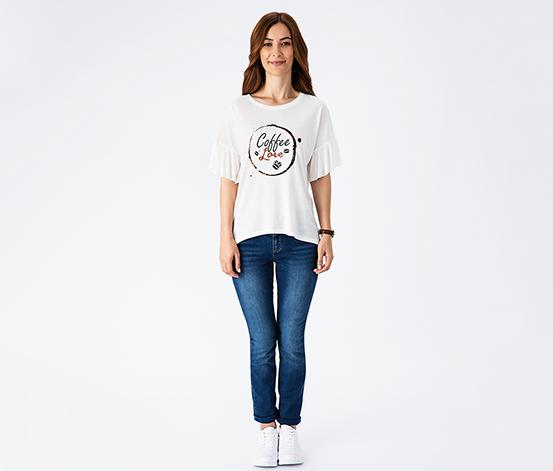 Beyaz Coffee Love Volan Kollu Kadın Tişört