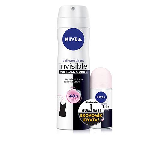 Deodorant Set Nıvea B&W Sprey Kadın + Mini Roll-On Clear Kadın
