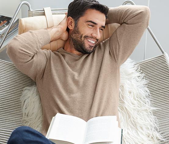 Férfi kasmír pulóver, bézs