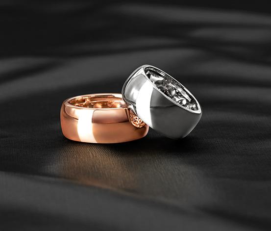 Srebrny pierścionek, pozłacany różowym złotem