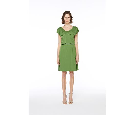 Yeşil Volanlı Midi Elbise