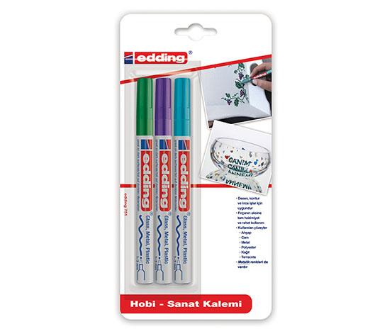 Edding Hobi Sanat Kalemi 3lü Yeşil-Mor-Açık Mavi