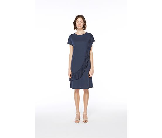 Lacivert Volanlı Elbise