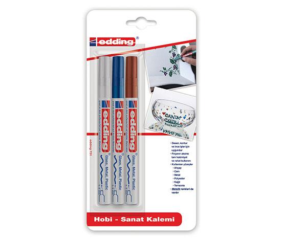 Edding Hobi Sanat Kalemi 3lü Beyaz-Mavi-Kahve
