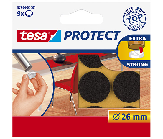 tesa® Protect Çizilmeye Karşı Koruma Sağlayan Keçe, Yuvarlak, 26mm, 9 adet,