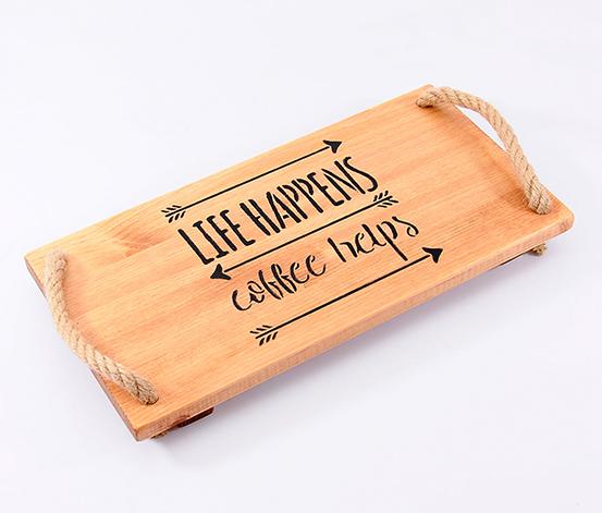 Kahverengi Kahve Aşkı Tepsi