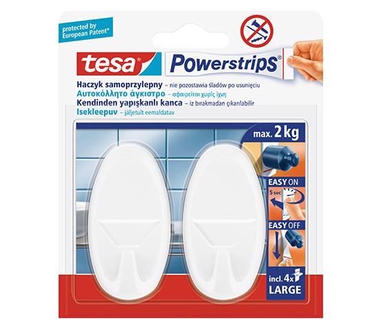 tesa® Powerstrips Askı Büyük Oval Kendinden Yapışkanlı, Çıkarılabilir, Beyaz