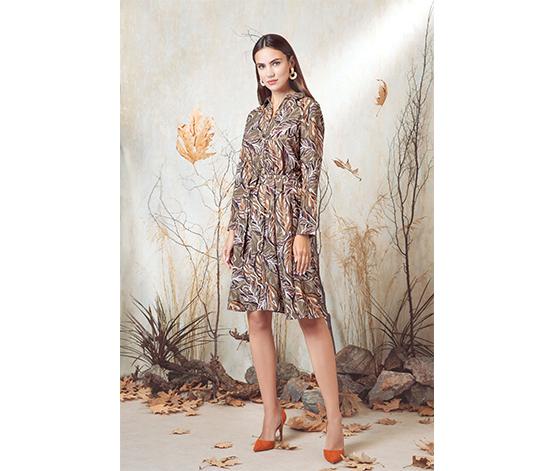 Renkli Yaprak Elbise
