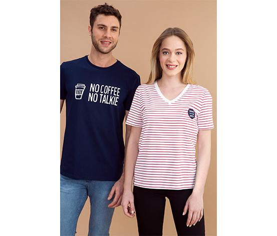 Lacivert Sloganlı Tişört