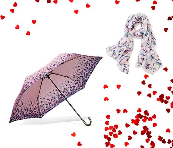 Beyaz Şal ve Katlanabilir Şemsiye Seti