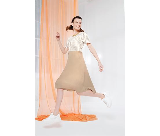 Bej Çizgili Elbise