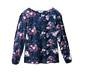 Lacivert Çiçekli Fırfırlı Bluz