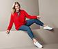 Damska bluzka tunika z wiązaniem pod szyją, czerwona