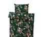 Renforcé ágynemű, sötétzöld/virágos, egyszemélyes