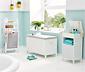 Fürdőszoba polc és szennyestartó, fehér