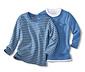 2 Adet Uzun Kollu Tişört, Sarı-Mavi Çizgili ve Mavi