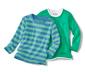 2 Adet Uzun Kollu Tişört, Mavi-Yeşil Çizgili ve Yeşil