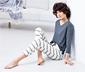 Krem Mavi Organik Pamuklu Pijama Takımı