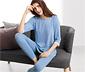 Kırçıllı Mavi Organik Pamuklu Pijama Takımı