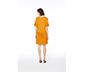 Sarı Etek Ucu Pileli Midi Elbise, S