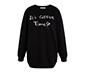 Siyah Oversize Nakışlı Sweatshirt