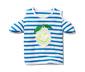 Beyaz Mavi Çizgili Organik Pamuklu Payetli Tişört