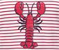 Biało-czerwona bluzka w paski z wzorem homara